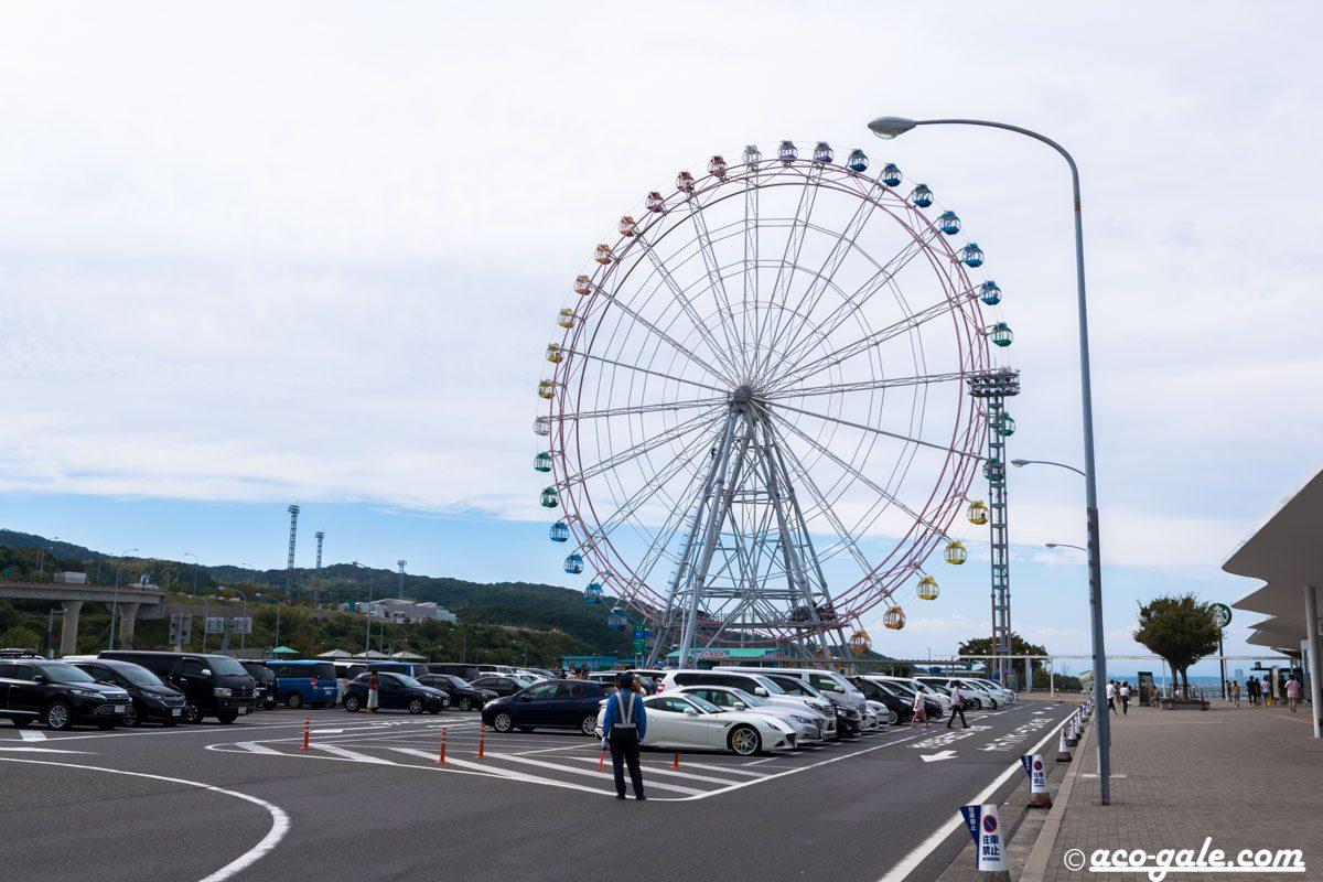 明石海峡大橋が良く見える淡路サービスエリア、観覧車で絶景を楽しむ!