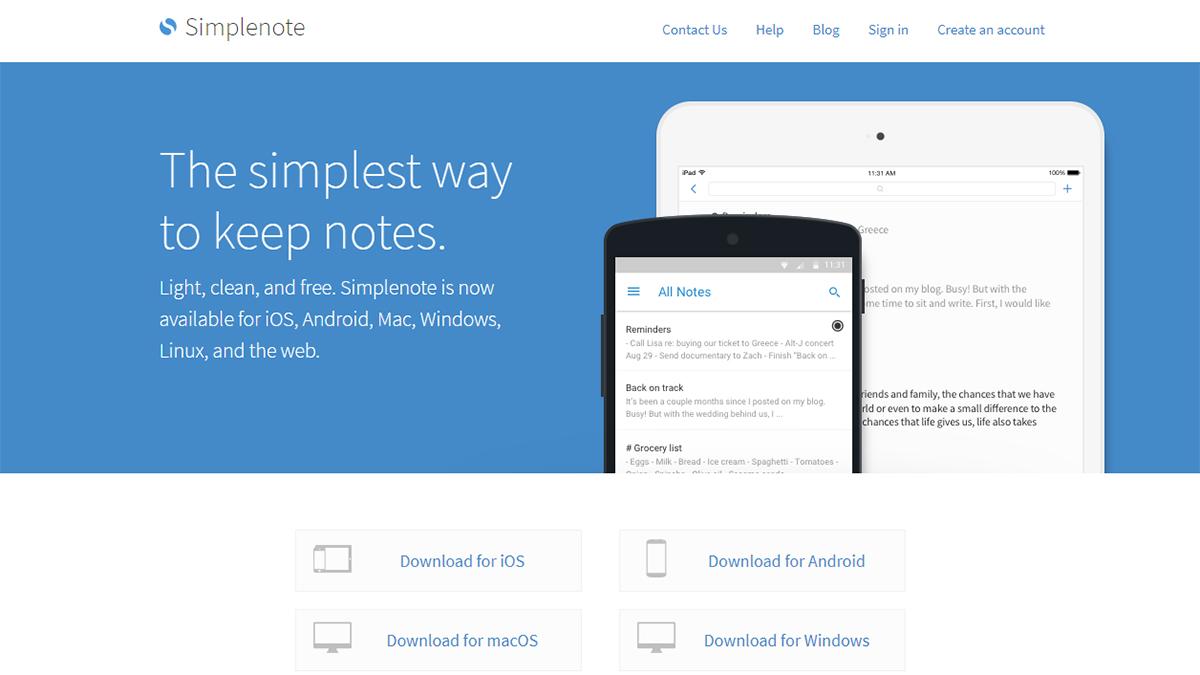 Simplenoteは名前の通り、共有できるシンプルで使いやすいノートアプリ